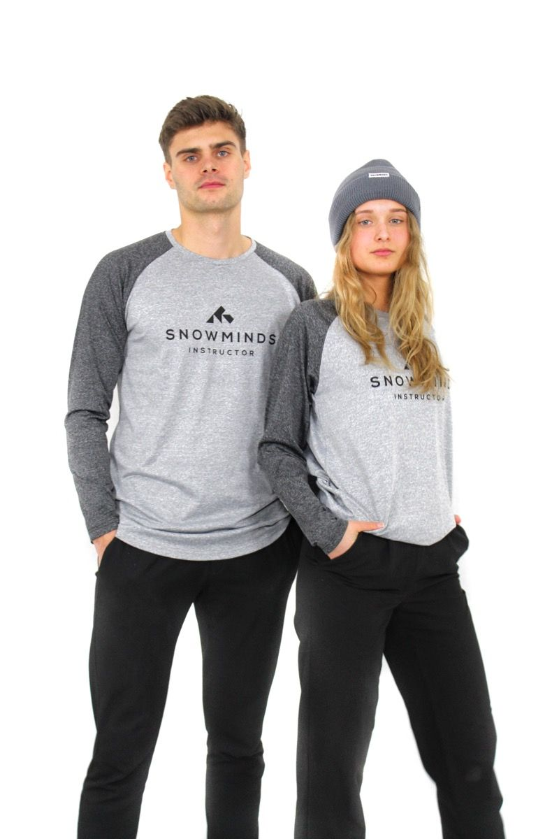 Ski t-shirt - Long sleeve running shirt - White/Grey - Unisex